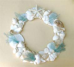 Beach Decor - Seashell Wreath with Hand-Painted Natural Sea Fans - inch diam. Coastal Wreath, Seashell Wreath, Seashell Art, Seashell Crafts, Beach Crafts, Coastal Decor, Kids Crafts, Beach Wreaths, Wal Art