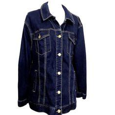 Lane Bryant Denim Jean Jacket Blue Dark Wash Plus Size 22 Trucker Western Style #LaneBryant #JeanJacketTruckerJacketDenimJacket