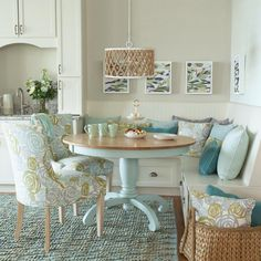See how cabinets bumps up to seating area Chevron Woven Cotton/Jute Rug - Aqua Beach Cottage Style, Beach Cottage Decor, Coastal Decor, Coastal Cottage, Beach Cottage Kitchens, Cottage Rugs, Aqua Decor, Coastal Inspired Kitchens, Beach Condo Decor