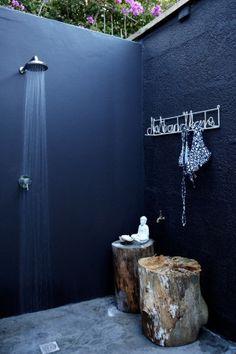 navy blue / shower / wood / decor / details / bathroom by susanne