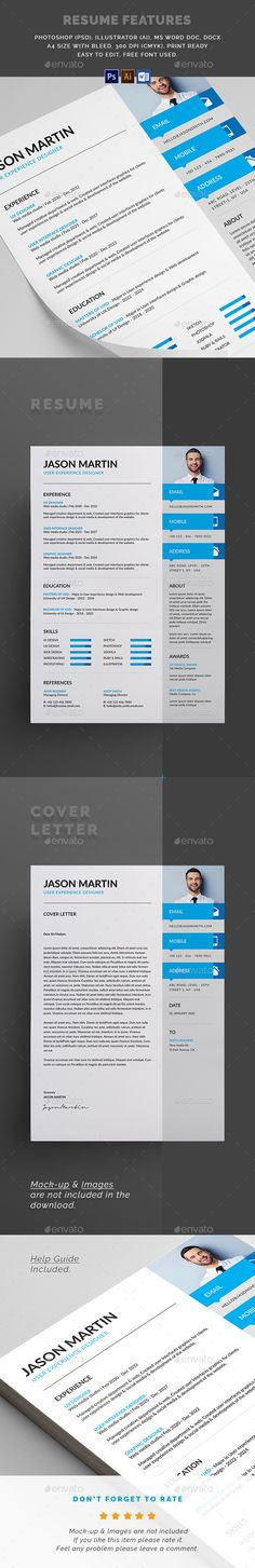 Clean #Resume - Resumes Stationery Download here: https://graphicriver.net/item/clean-resume/20008376?ref=alena994