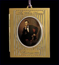 1999 White House Christmas Ornament, President Abraham Lincoln's Portrait - Ornaments: Sale Now in Progress - Christmas White House Ornaments, White House Christmas Ornament, White Christmas, Christmas Trees, George Washington Pictures, Historical Association, Church Building, Xmas Decorations, Christmas Photos