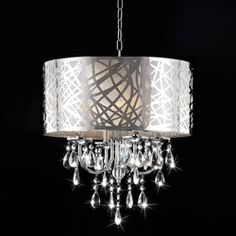This would look cool in the livingroom corner near the sliding glass door. @Lisa Phillips-Barton Surroz @Overstock.com - Bring an elegant, luxurious touch to your home decor with this beautiful four-light chandelier. This light fixture features a chrome finish, shade and clear crystal glass details.http://www.overstock.com/Home-Garden/4-light-Chrome-Crystal-Chandelier/5244435/product.html?CID=214117 $204.99
