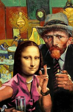Tagged with Funny; Shared by mona Lisa and van gogh. collage by Barry kite Arte Pop, Pop Art, Collages, Graffiti Kunst, Art Du Collage, Street Art, Mona Lisa Parody, Photocollage, Psychedelic Art