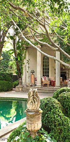 Architecturally Salvaged Roman Columns add charm and Charachter to a Pool House, Formal Garden, and Naturalistic Pool.