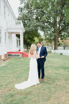 Outdoor wedding, first look, groom attire, navy suit, blue wedding, back of dress, bride and groom, just married, wedding photography, woodlawn estate farm