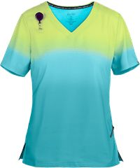 The koi Lite™ Lemon Lime/Electric Blue Ombre Scrub Top is a bright and colorful look. Shop today for ombre scrubs in all styles and colors at Uniform Advantage! Cute Scrubs Uniform, Scrubs Outfit, Uniform Advantage, Scrub Jackets, Slim Fit Pants, White V Necks, New Print, Blue Ombre, Lemon Lime