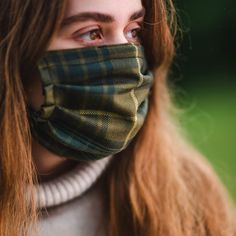 *Free Shipping* Washable, re-usable simple Facemask, carefully handmade with a lightweight wool tartan outer layer, fully lined in super-soft tana lawn cotton in a complimentary Liberty Print.