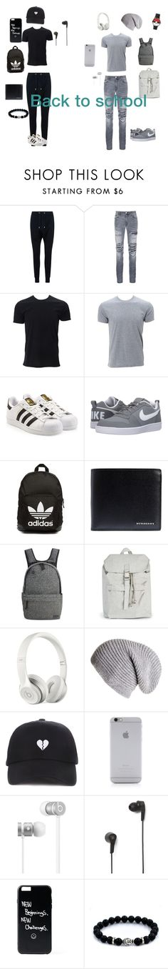 """""""Back to school 😬"""" by shiyanemcnab on Polyvore featuring Balmain, AMIRI, adidas Originals, NIKE, Burberry, Focused Space, Topman, Beats by Dr. Dre, Black and Native Union"""