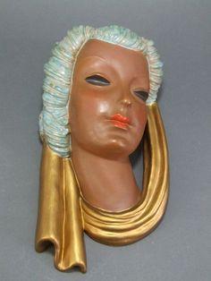GOLDSCHEIDER Art Deco Wall Mask c1937 (please follow minkshmink on pinterest)