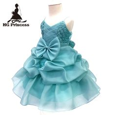 2017 New Arrival 4T-8T Girl Party Dress Organza  Cotton Lining Kids Pageant Ball Gown Turquoise Flower Girl Dresses For Weddings