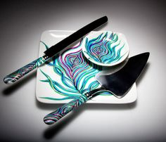 Peacock Wedding Toast and Cake Serving 6-Piece Customized Collection--Peacock Toasting Flutes, Ring Dish, Cake Plate, Cake Serving Set. $198.00, via Etsy.