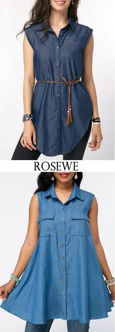 Belted Button Front Curved Hem Sleeveless Denim Blouse.#Rosewe#denim