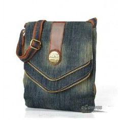 Recycled denim bag, blue mini messenger bag - E-CanvasBags