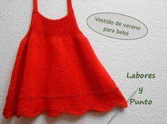 Como tejer un vestido de tirantes para bebé, en dos agujas - YouTube