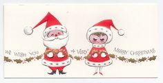 Vintage Greeting Card Christmas Cute Mr & Mrs Santa Claus Mid-Century Hallmark