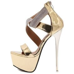 Gold Rhinestone Embellished Cross Strap Platform Stiletto High Heels ($48) ❤ liked on Polyvore featuring shoes, pumps, gold high heel pumps, gold platform pumps, platform stilettos, high heel platform shoes and high heel shoes