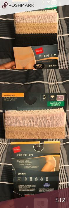 🎀💖Hanes Premium💖🎀 Invisible Lace Bikini NWT- Hanes Style Statement Bikini, Premium Lace, Multi color. 3 pairs. Size 7/Large. Brand new, never worn or taken out of package. Color Black. Bundle and save. Please feel free to make an offer, using the offer tab. Thank you and happy shopping. Hanes Intimates & Sleepwear Panties
