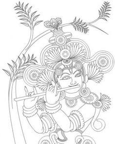 Saree Painting, Kalamkari Painting, Kerala Mural Painting, Krishna Painting, Indian Art Paintings, Madhubani Painting, Modern Art Paintings, Krishna Art, Fabric Painting