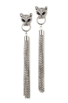 Silver Jaguar Tassels-Miss Flurrty  #silver #jaguar #tassels #earrings #missflurrty