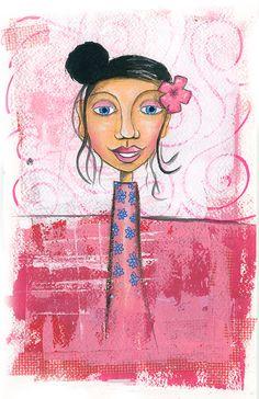 Pink Girl | Mixed Media | Illustration | Handdrawing | Portrait | Art Journaling | Acrylic paint | Sakura Gelly Roll | Flower in hair | Marieke Blokland | www.bloknote.nl