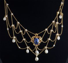 Antique Gold, Pearl and Burma Sapphire Necklace