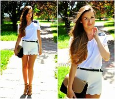Get this look: http://lb.nu/look/5179004  More looks by Magdalena S: http://lb.nu/qofbeauty  Items in this look:  Livia Clue Blouse, Romwe Shorts