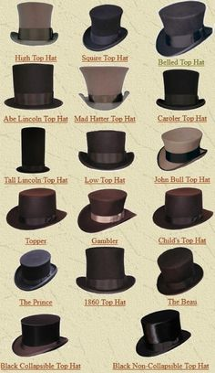 "Vintage Dressing steampunktendencies:"" Top Hat Name Chart"" - Arsenic is my dark corner with steampunk, victorian, vintage influences. Moda Steampunk, Steampunk Hat, Victorian Steampunk, Steampunk Fashion, Victorian Fashion, Vintage Fashion, Steampunk Clothing, Fashion Goth, Steampunk Necklace"