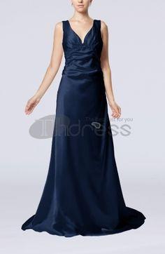 Long Evening Dresses-Elegant Column V-neck Sleeveless Elastic Woven Satin Appliques Evening Dresses