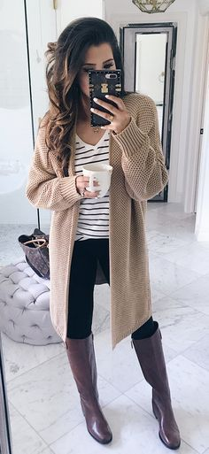 #summer #outfits Beige Cardigan + White Striped Tee + Black Skinny Jeans