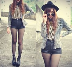 """""""#vintage"""" (High waisted shorts, chevron top, acid-washed denim shirt and an unnecessary hat? No, this is VERY 2013.)"""