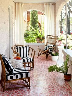 small patio, patterned floor