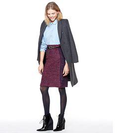 Zara Masculine Double-Breasted Coat ($189) in Grey; Levi's Made & Crafted Denim Shirt ($149) ; Tory Burch Valentina Skirt ($325) in Dark Plu...
