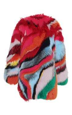 Striped Intarsia Fur Coat by Roberto Cavalli | Moda Operandi