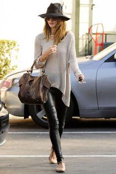 rose huntington whitely fedora, leather pants, sweater