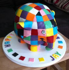 Elmer the Elephant - yay, made EXPLORE!! by Baking and Decorating, via Flickr
