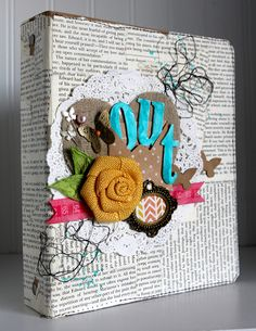 Ronda Palazzari Out Mini Album  Sneak peek of Maya Rd new product. I am really loving the burlap flowers and can't wait to create something with them.