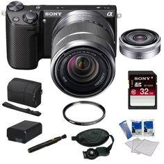 Sony NEX-5RK/B 16.1 MP Compact Interchangeable Lens Digital Camera with 18-55mm Lens and 3-Inch LCD in Black + Sony SEL16F28 16mm f/2.8 Wide-Angle Lens + Sony 32GB Class 10 SD Card + Sony Camera Case + Replacement Battery Pack + Tiffen 49mm Filter + Acces