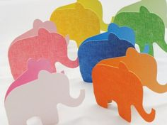 Blank Elephant Shaped Folded Cards - Set of 6 via Etsy. Party On Garth, Elephant Birthday, Elephant Baby, Colorful Elephant, Easy Crafts For Kids, Simple Crafts, Diy Letters, Shaped Cards, Kirigami