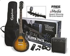 #2: Epiphone Les Paul Electric Guitar Player Package Vintage Sunburst This is ranked high among the best products in Musical Instruments category in USA. Click below to see its Availability and Price in YOUR country.