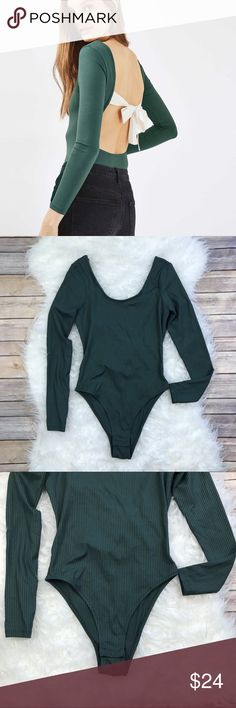 """Topshop Low Bow Back Bodysuit Excellent condition TOPSHOP Low Back Bodysuit. Size 4. Stretchy 92% polyester, 8% elastane. Green. Bust 33"""". No trades, offers welcome. Topshop Tops Blouses"""