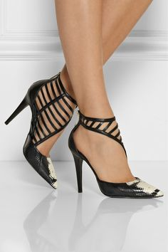 Hand-painted elaphe pumps with cage-like design. Tamara Mellon