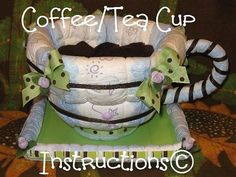 Coffee or Tea for the Mommy to Be! This instructional e-book will teach you to make this crazy yet classy coffee cup. (Or tea cup/flower pot/gift basket!) This design calls for diapers, washcloths & other secret crafting items. When finished, it measures approximately 13 wide X 7