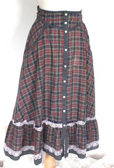 Gunne Sax Skirt Vintage 1970s // 70s Plaid and by TrueValueVintage