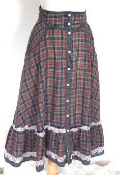 Gunne Sax Skirt Vintage 1970s // 70s Plaid and by TrueValueVintage