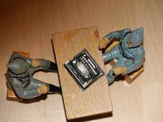 2 alte Hausser Elastolin Massesoldaten mit Tisch und Schreibmaschine | eBay