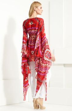 EMILIO PUCCI  Flare Sleeve Print Silk Tunic  Red and Pink color saturates a printed silk tunic graced with dramatically flared sleeves that flutter beside the defined bodice.