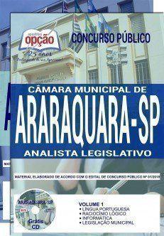 Apostila Concurso Camara De Araraquara 2018 Cargo Analista