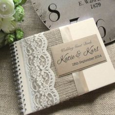 Vintage Styled Hessian Lace Wedding Guest Book. Handmade to Order and Personalised. £15