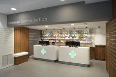 Farmacia Serrano - TecnyFarma Clinic Design, Healthcare Design, Design Exterior, Office Interior Design, Mobile Shop Design, Pharmacy Pictures, One Storey House, Cabinet Medical, Pharmacy Store
